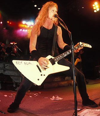 James Hetfield's 'EET FUK' Explorer James Hetfield has been rocking an Explorer since the late 80s, and made the model a household name. Even when he's not using an Explorer, he'll often get custom guitars that look the same anyway. One example: the ESP JK Snakebyte, which launched in 2011.