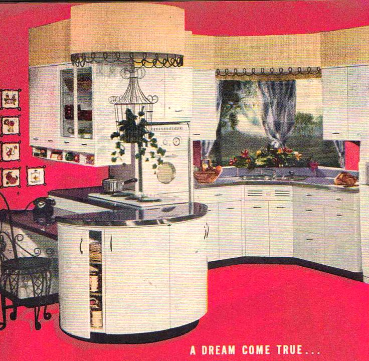 Beautiful retro 1950s kitchen with rounded cabinets. Click the image to learn how to give your kitchen a mid century makeover! http://www.retrorealtygroup.com #retrokitchen
