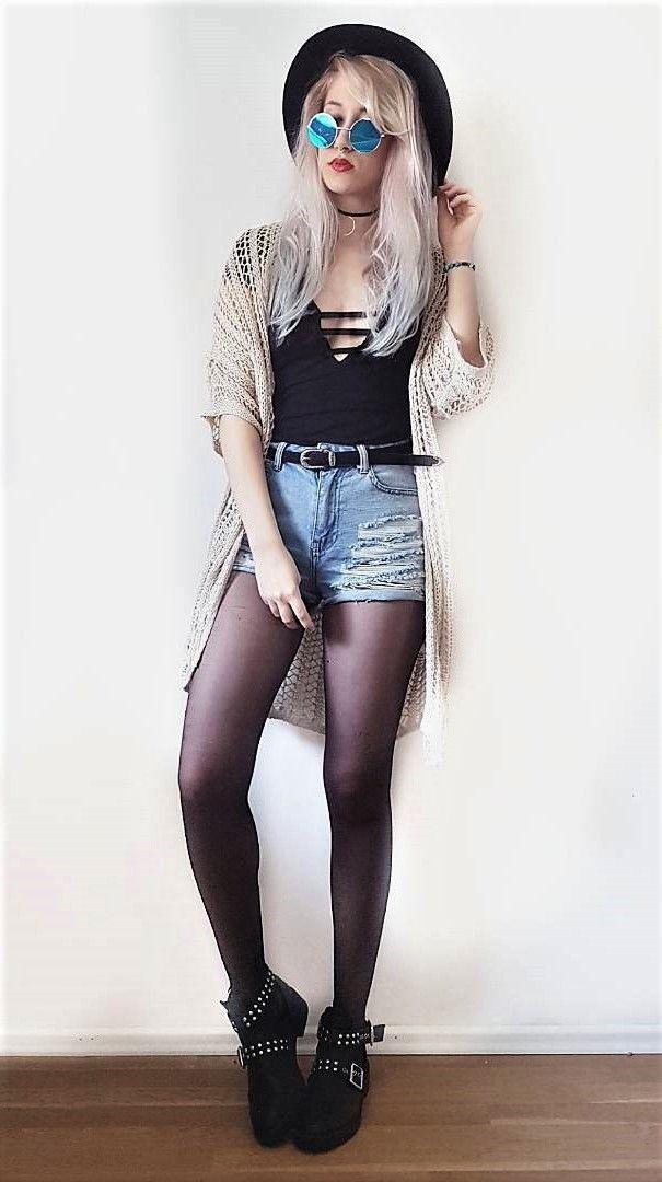 Moon shaped necklace, round hat, sunglasses, black bodysuit, knitted kimono, denim shorts & black boots by schimmeleinhorn