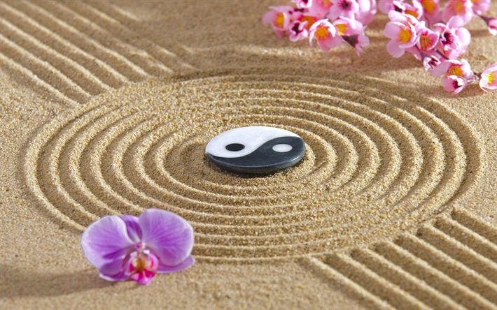 Download wallpapers Zen, philosophy, Buddhism, Yin and Yang, energy, sand monk, Japan