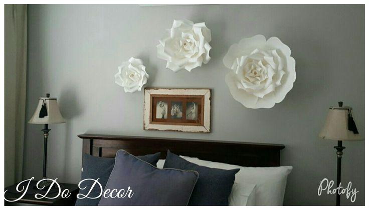 White bedroom set, paper flowers