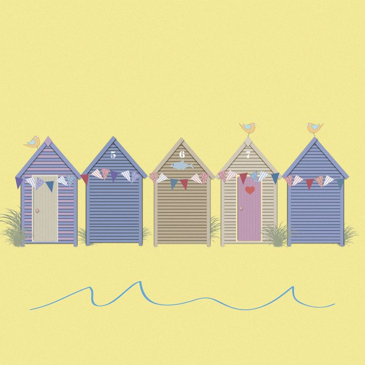 Beach Huts £3.00 greeting card from Sophie Morrell