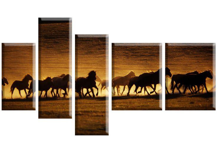 Tablou Horses 3616 Dimensiuni: 1x 20x40 - 2x 20x60 - 2x 30x40 cm Total: 120x70 cm