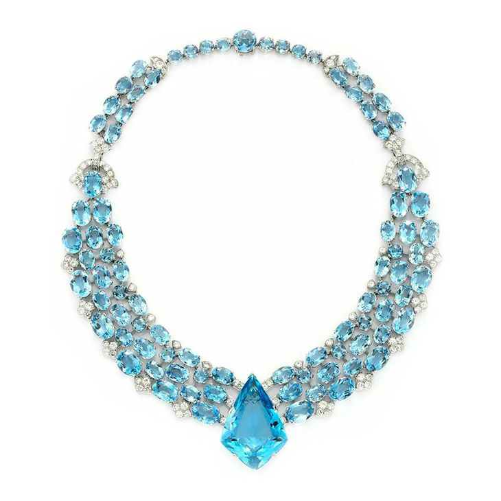 An Art Deco Aquamarine and Diamond Necklace, by Cartier, circa 1938