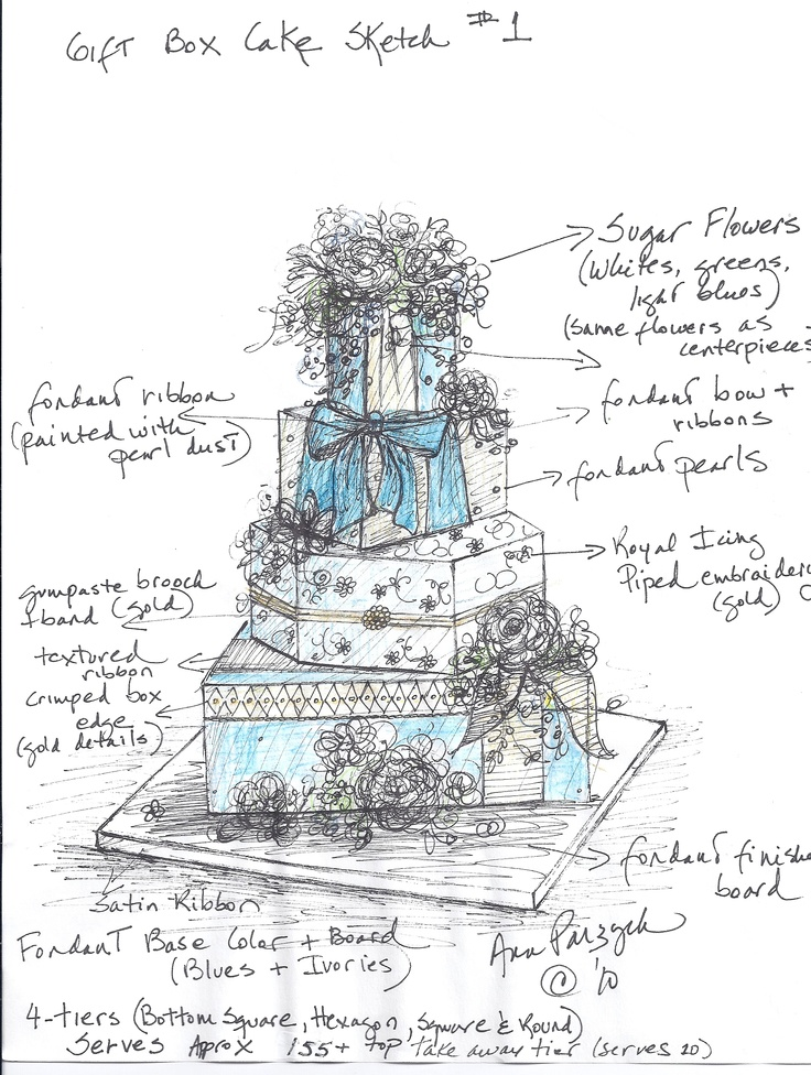 Gift Box Wedding Cake Sketch don't forget details and colors!