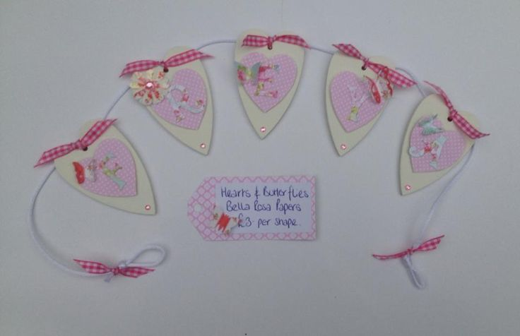 Beautiful Hand Made Personalised Bunting. A lovely, unique gift. Lots of designs; Hearts, Stars, Teddy Bears, Butterflies, Trains, decorated with pretty papers, buttons, gems, flowers and ribbons. Made to order. £3. per letter + £4 p&p.