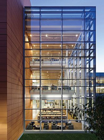 Frederick E. Berry Library and Learning Commons: sense of openness, glass curtainwall that draws light into the building and offers campuswide views