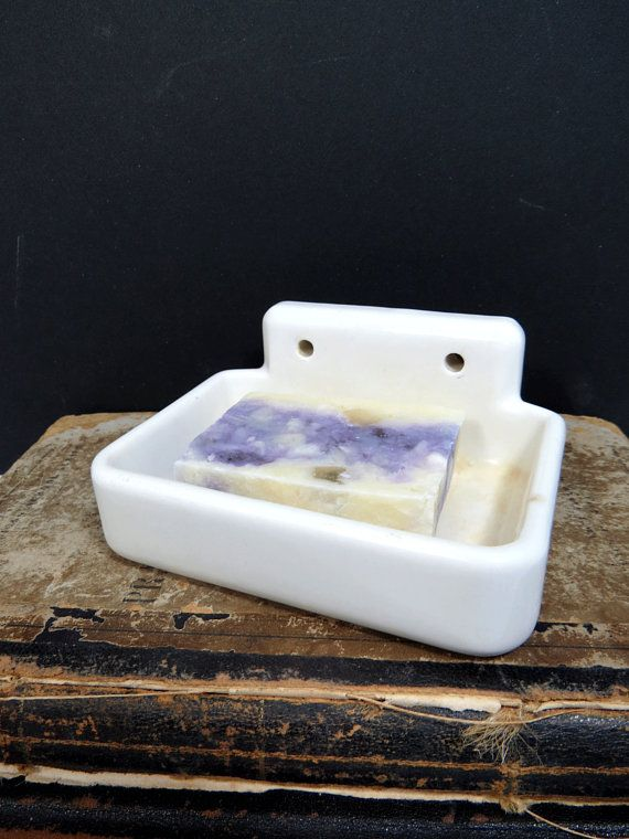 Porcelain Soap Dish Wall Mount Bathroom Utility Room White