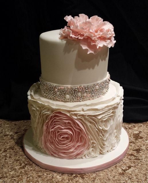 Ruffled rose birthday cake | Mick's Sweets -  Flickr - Photo Sharing!