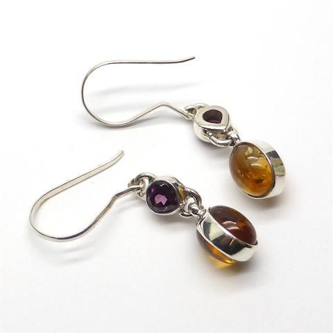 Earring Citrine & Rubellite Tourmaline  | 925 Sterling Silver | Authentic Stones | Crystal Heart Melbourne Australia since 1986