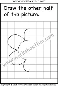 Draw the other half – Flower – One Worksheet