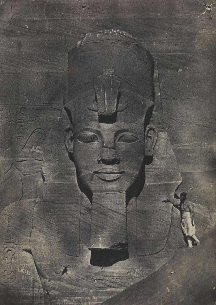 Nubia, Abu Simbel, middle colossus from the temple of Rameses II. Photo by Maxime Du Camp; 'Nubie, Ibsamboul, Colosse Médial du Spéos de Phré', 1850