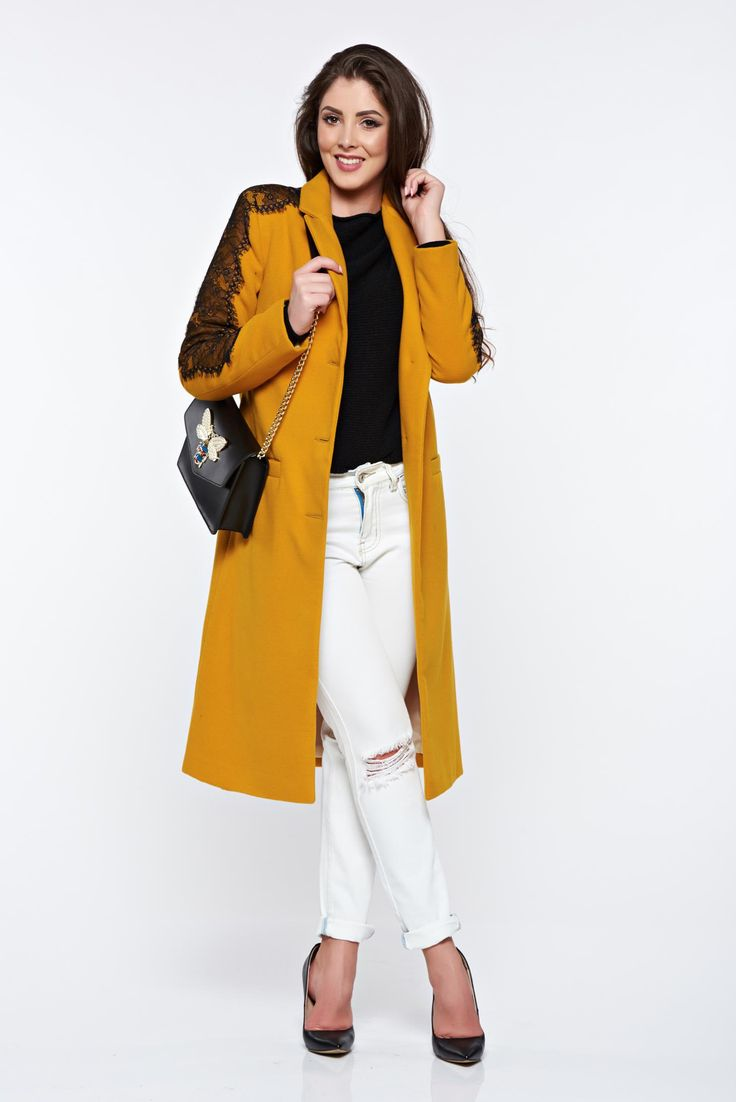 LaDonna mustard embroidered elegant straight coat with inside lining, inside lining, embroidery details, long sleeves, women`s coat, with buttons, padded shoulders