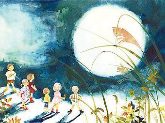 いわさきちひろさん 十五夜の月 Chihiro Iwasaki full moon night
