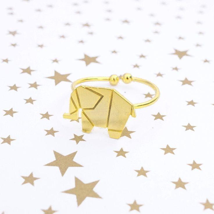 Éléphant Origami Gold Ring - Majolie   - 1