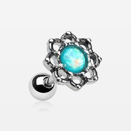 Lotus Opal Sparkle Filigree Cartilage Tragus Earring