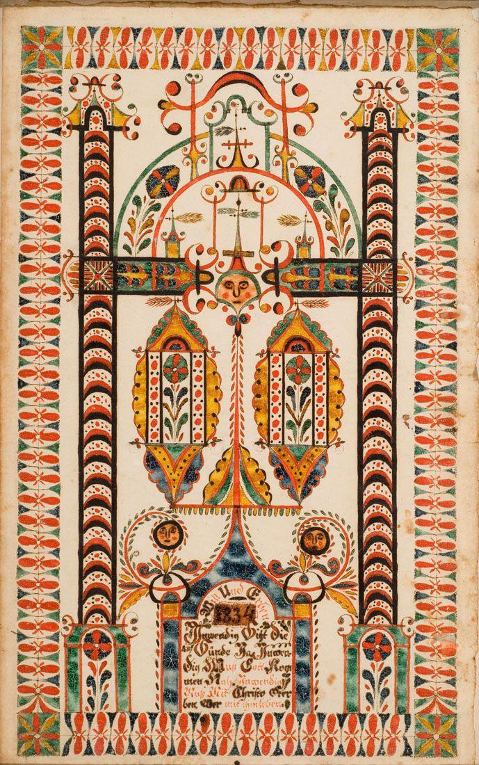 Montgomery County Dated 1834 American Folk Art Scandinavian Folk Art Pattern Art