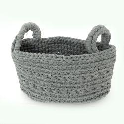 Opbergmand Crochet - Licht Grijs S