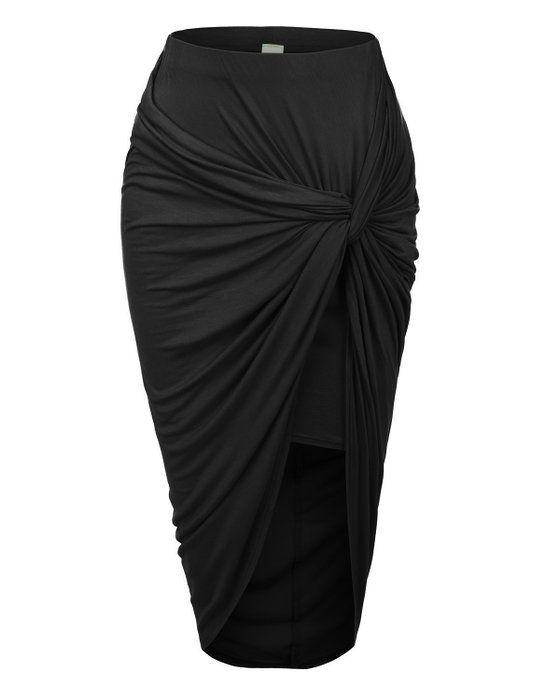 RubyK Womens Asymmetrical Banded Waist Wrap Cut Out Hi Low Maxi Skirt,Small,BLACK