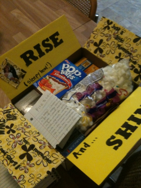 """""""Rise and Shine package-Fill with coffee, cereal bars, tooth paste toothbrush, and other breakfast morning items."""" Very fun idea for a creative care package!"""
