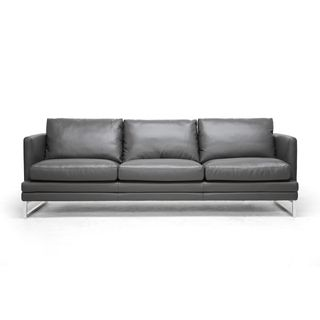 Update your living room style with this Dakota modern sofa. It goes well with most contemporary living room decor with its low-key pewter-grey leather upholstery and chrome-plated legs. The leather is