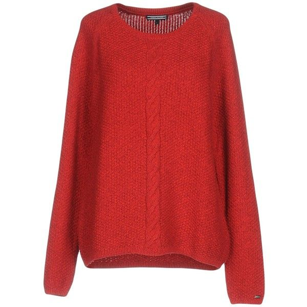Tommy Hilfiger Jumper ($130) ❤ liked on Polyvore featuring tops, sweaters, red, long sleeve tops, extra long sleeve sweater, tommy hilfiger, long sleeve cotton tops and long sleeve sweater