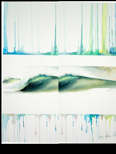 """""""Green Room Wave"""" flip flops by Heather Ritts"""