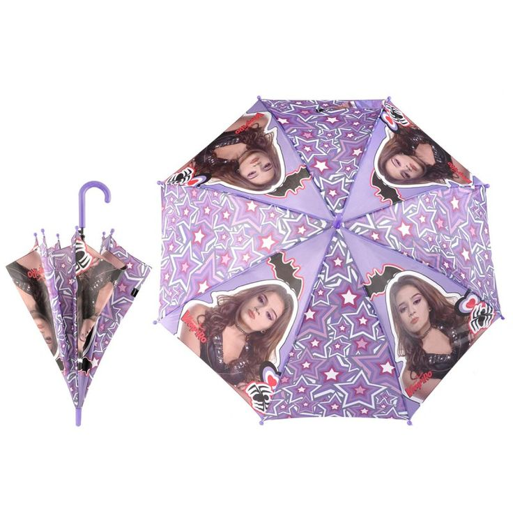 Parapluie automatique Chica Vampiro  Parapluie 48 cm de coté  Poignée et embouts plastiques de la même couleur que le fond de la couverture du parapluie.