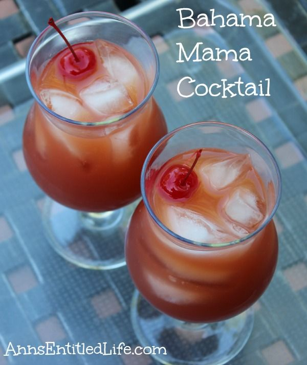 Bahama Mama Cocktail Recipe;  Made with three different rums, coffee liquor and fruit juice, this Bahama Mama cocktail is a fun and refreshing drink! http://www.annsentitledlife.com/wine-and-liquor/bahama-mama-cocktail-recipe/