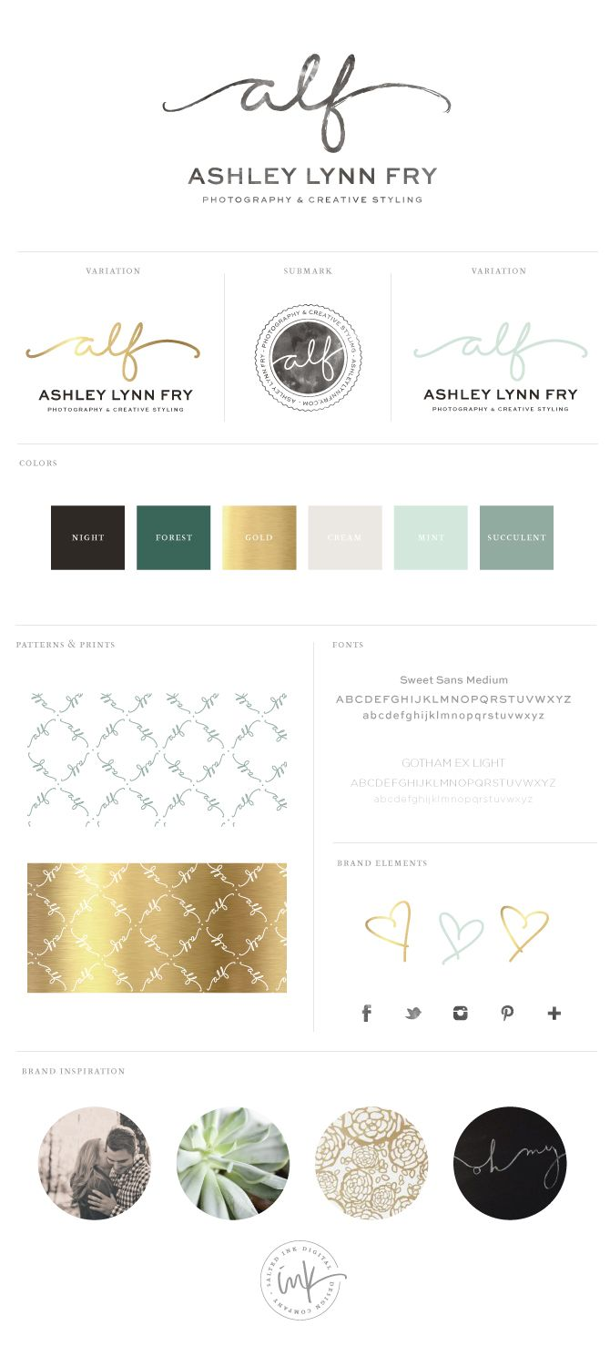 """The Project Ashley Lynn Fry is an amazingly talented wedding photographer who also has an undying love for styling and coordinating events gorgeous events. Ashley was looking for a handwritten logo that highlighted her initials """"ALF"""" since her name is a pretty long one. Succulents inspired the green focused color palette and we added in …"""