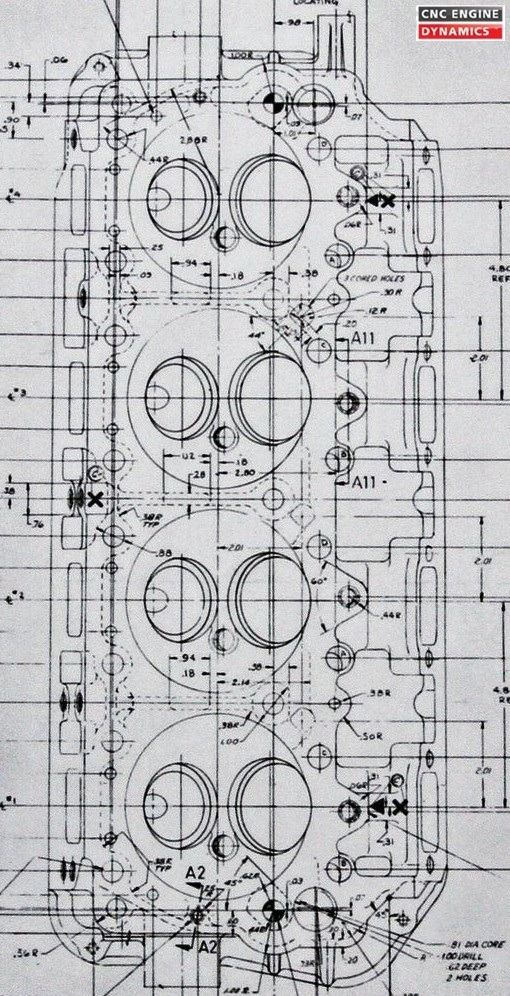 Original blueprint / diagram of a 1965 426 Hemi head | Garage ...