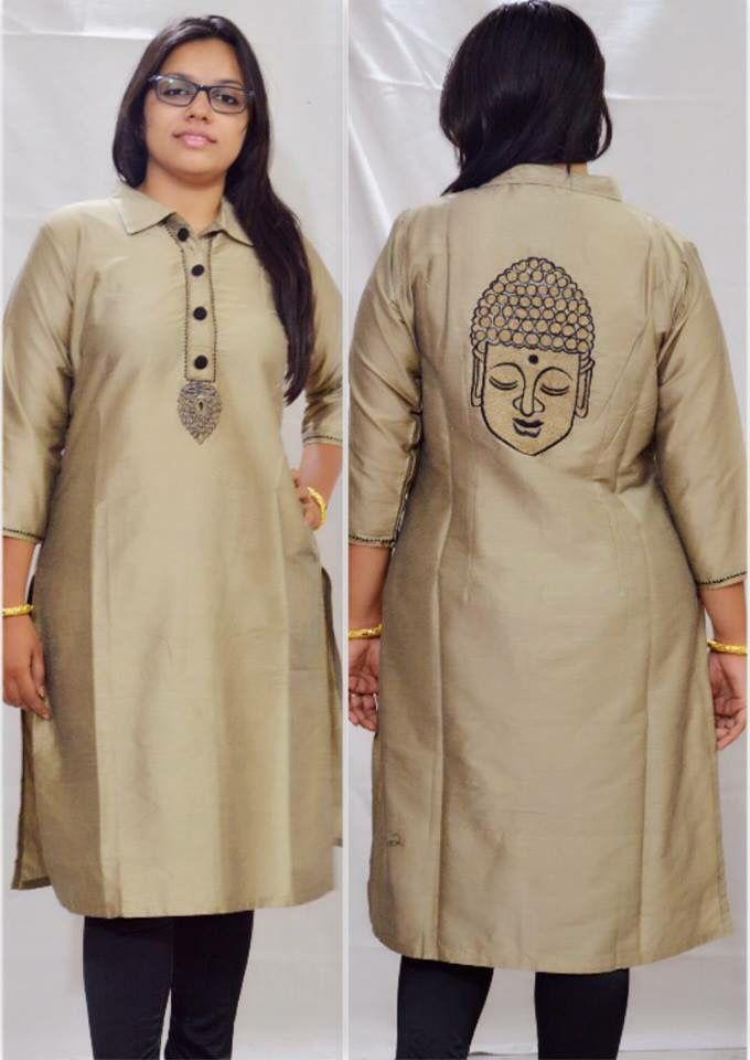 519 best hand painted kurti saree images on pinterest. Black Bedroom Furniture Sets. Home Design Ideas