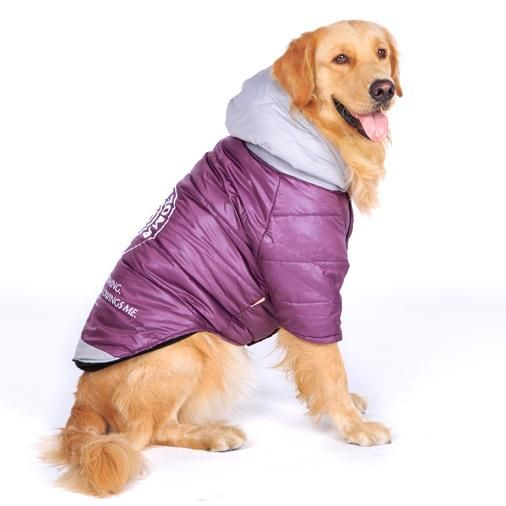 <b>New</b> Purple Large Dog <b>Clothes</b> Winter Padded <b>Coat</b> Warm <b>Jackets</b> ...