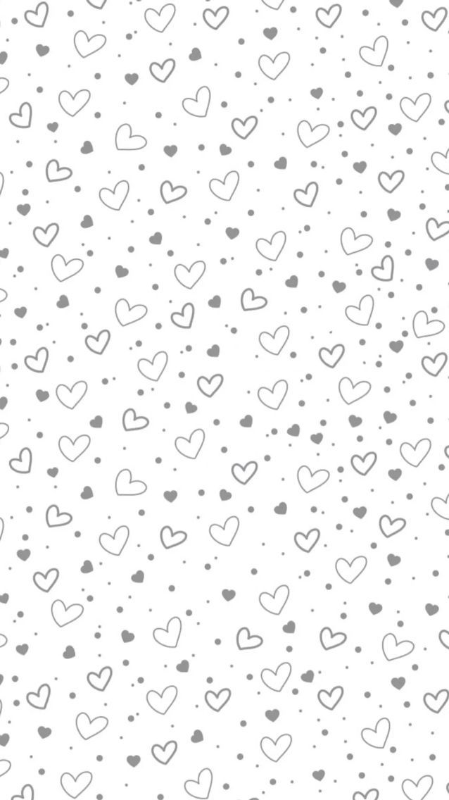 Grey white mini confetti hearts iphone phone wallpaper lock screen background