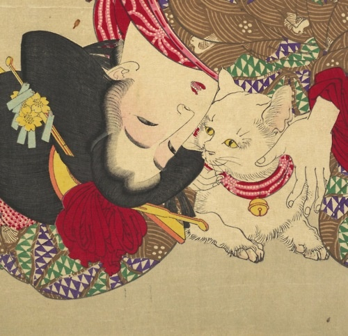 'Teasing the Cat' (detail) by Tsukioka Yoshitoshi, 1888 (Japan) - Polychrome woodblock print; ink and color on paper