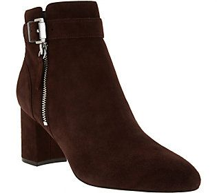 Marc Fisher Suede Buckle Ankle Boots - Wynie