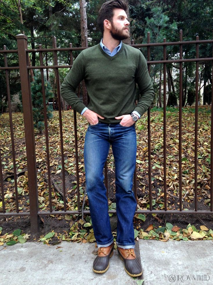 Men's outfit with duck boots