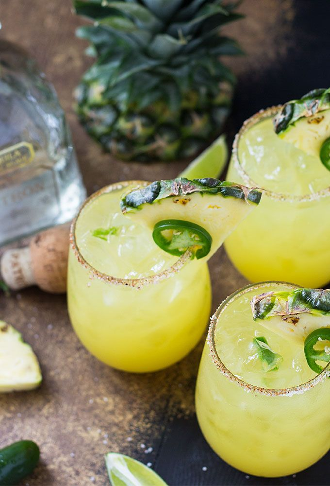 Pineapple Jalepeño Margarita - Author: The Blond CookServes:1Ingredients:Chili Salt:2 Tbsp kosher salt1 tsp chili powderMargarita:1 Tbsp lime juice1 jalapeño slice¼ cup Patrón Silver Tequila¾ cup pineapple juice⅛ cup triple secPineapple wedges and additional jalapeño slice, for garnishDirections:Combine the chili salt ingredients and rim the glass with the mixture.Muddle the jalapeño slice with lime juice in a shaker.Place 1½ cups ice in the shaker and add tequila, pineapple juice and…