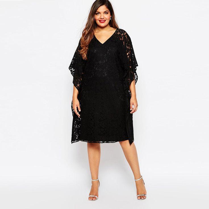 Плюс размер 5xl женщины мода летнее платье женская batwing рукавом свободные большой размер черный полный шнурок повседневная soild платья ZD1290 купить на AliExpress