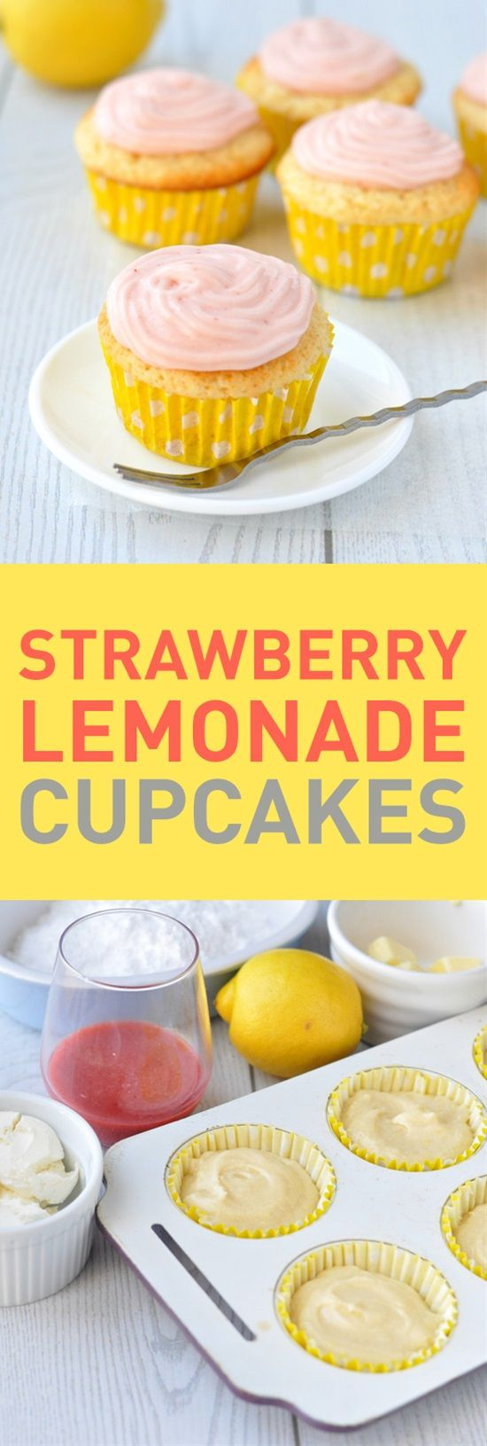 These strawberry lemonade cupcakes are the perfect sweet treat for summer! Whether you give them to your kids as an afternoon snack, to a family member as a birthday surprise or to your friends as a picnic dessert, everyone will be hooked after their first bite of these cupcakes.