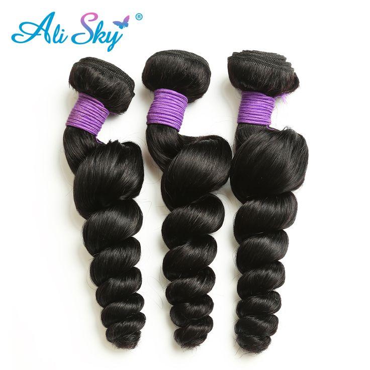 Ali Sky Brazilian Remy Hair Loose Wave Bundles Natural Black 1B# 1pc Human Hair Weaving Natural Hair Extentions 8-26 Inch