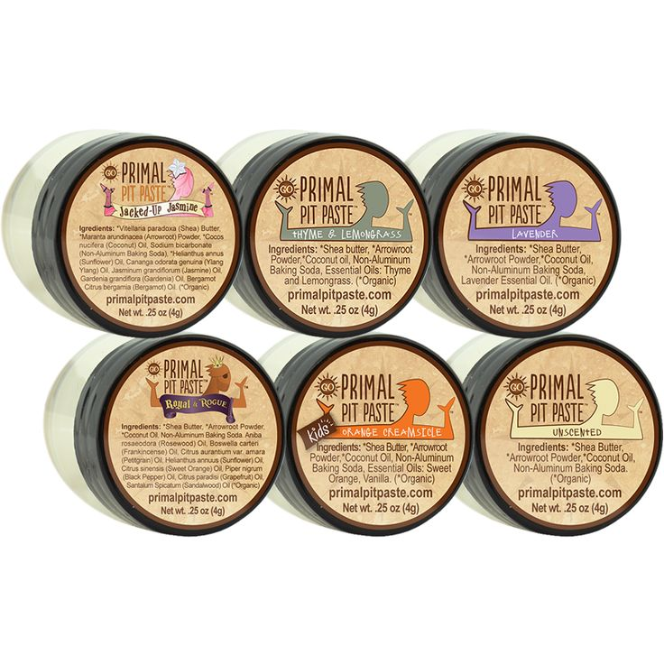 Primal Pit Paste - Six Pack Sampler: Looking for an all-natural, aluminum-free deodorant that actually WORKS? Try Primal Pit Paste. It really works. Sample all 6 and pick your favorite scent.
