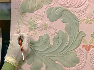 How to Hand-Paint Embossed Wallpaper from the DIY network