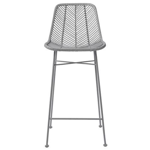 Chaise de bar en rotin et pied métal Bloomingville - Gris