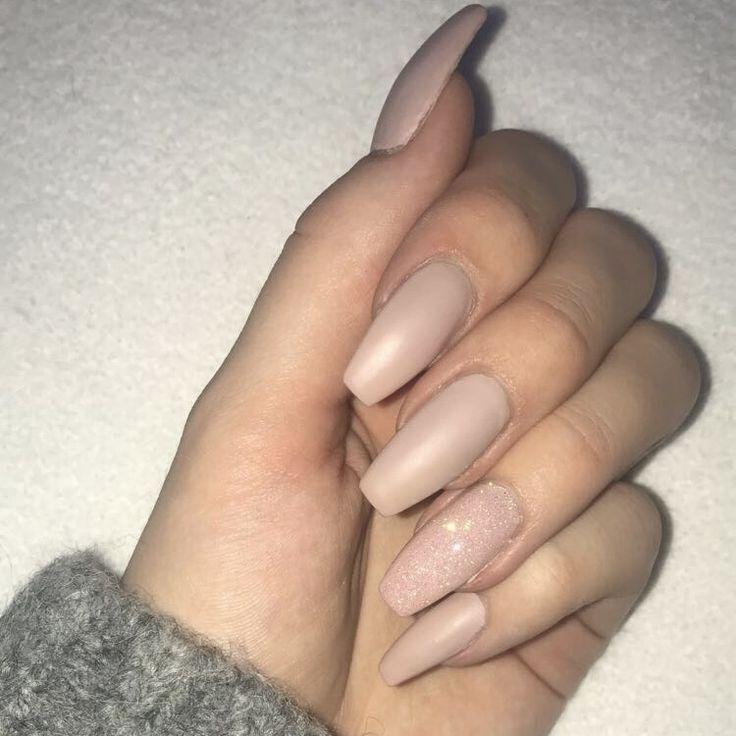 #Nägel #Gelnägel #Nackt #Glitter #Matt – Nails