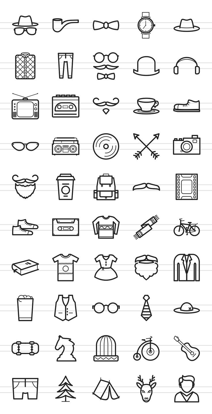 50 Hipster Line Icons by IconBunny on Creative Mar…