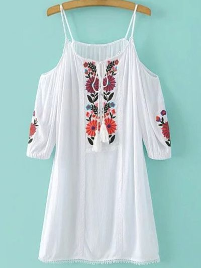 SHARE & Get it FREE   Floral Embroidery Cami Cold Shoulder DressFor Fashion Lovers only:80,000+ Items • New Arrivals Daily Join Zaful: Get YOUR $50 NOW!