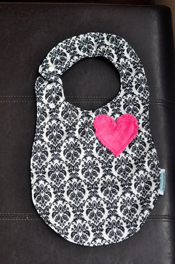 Black and White Damask PUL Side Snap Bib by SpoonerSistersDesign, $12.50