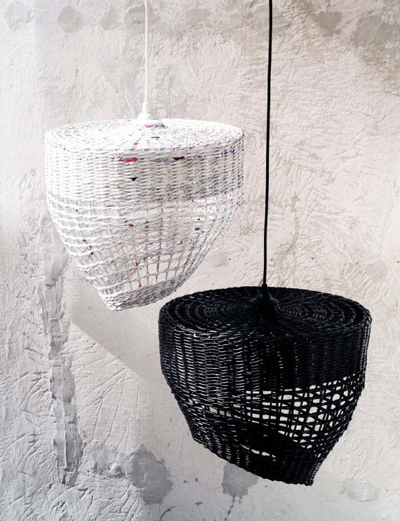Geometric pendant eco lamp Black white hanging lamp Original handmade lamp Decorative Lampshade over the table Minimal light - Coffee & Milk.