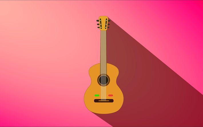 Herunterladen hintergrundbild 4k, gitarre, rosa hintergrund, kreativ